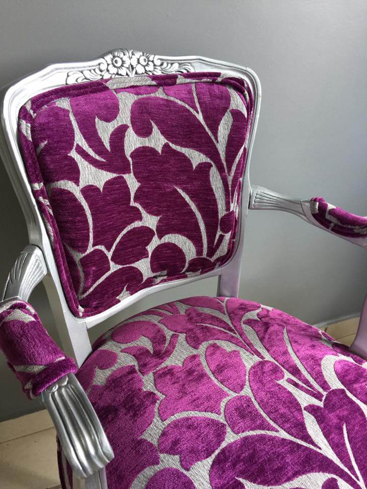 purplish and gray print fabric on a small victorian arm chair