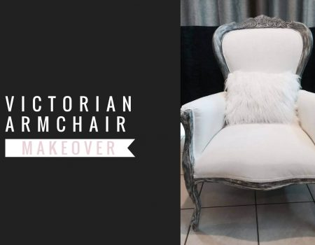 graphic art showing a white and gray victorian armchair makeover