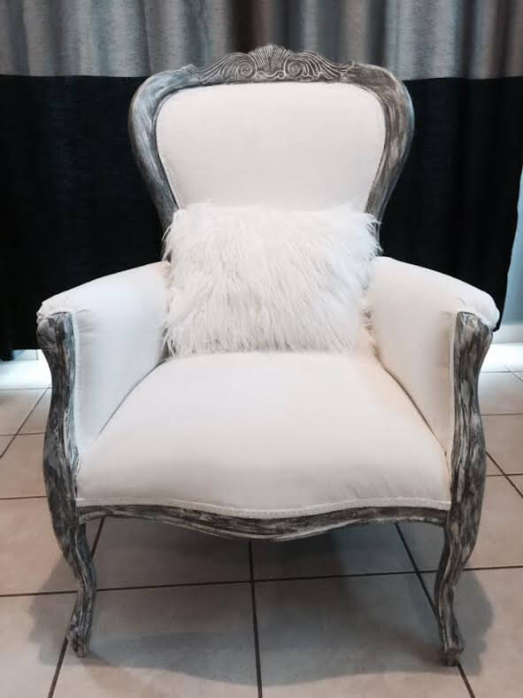 beautiful victorian arm chair reupholstered in white and gray