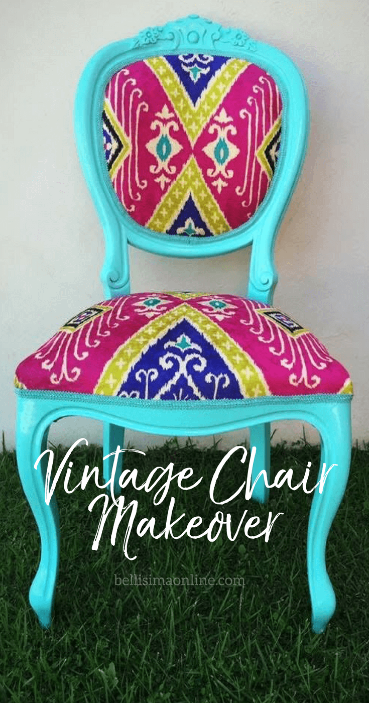 blue vintage chair with colorful fabric