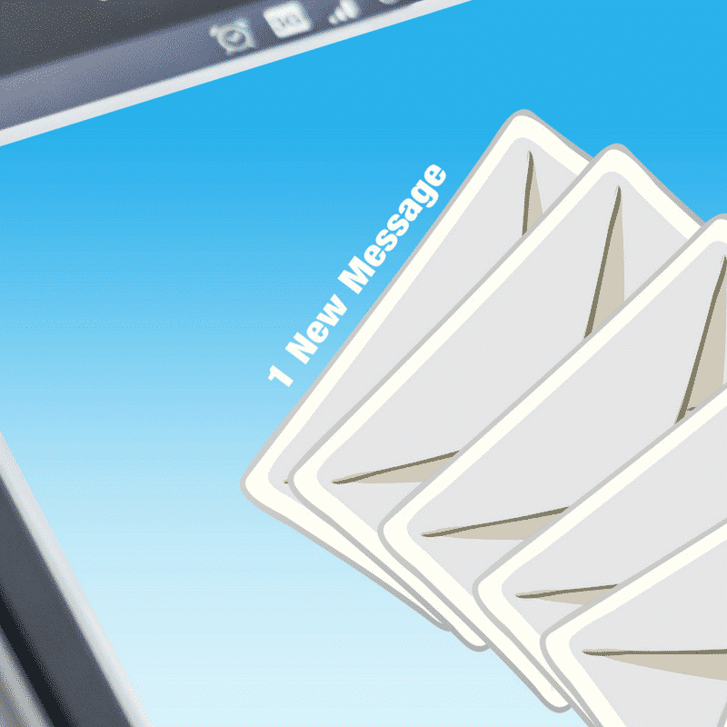 image of a smart phone showing envelope letters