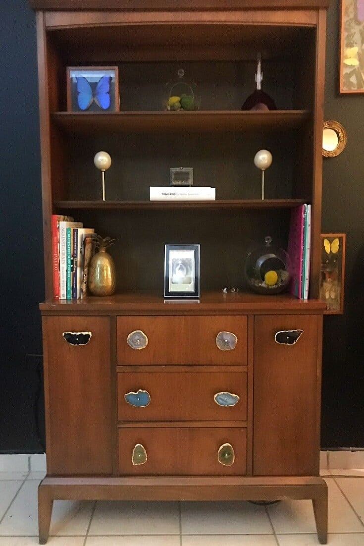 vintage China cabinet with agate drawer pulls